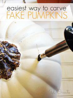 Easiest way to carve fake pumpkins!