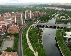 Transformation of Madrid central river area into green lush parks. Madrid Rio.