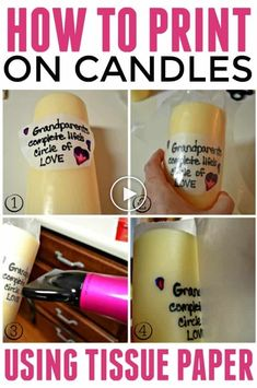 How to print on candles with tissue paper is a super easy DIY project that is great for a unique gift giving experience. How to print on candles with tissue paper is a super easy DIY project that is great for a unique gift giving experience. Diy Candle Printing, Velas Diy, Tissue Paper Crafts, Wax Paper, Felt Crafts, Printing On Tissue Paper, Candle Making Business, Candle Craft, Candle Wax