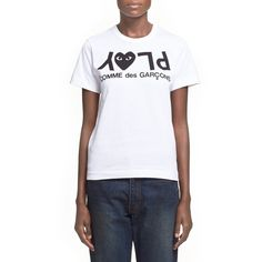 Comme des Garcons 'Play' Graphic Cotton Tee (140 CAD) ❤ liked on Polyvore featuring tops, t-shirts, white, short sleeve tee, comme des garcons t shirts, cotton logo t shirts, white short sleeve t shirt and white crew neck t shirt