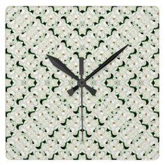 Magnolia Blossoms Square Wall Clock #zazzle #magnolia #flowers #clock http://www.zazzle.com/zazzlewallclocks