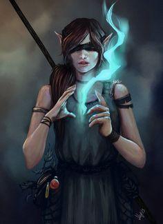 "char-portraits: ""Blind Mage by Linn Kristine Pettersen "" Fantasy Wizard, Fantasy Warrior, Fantasy Rpg, Medieval Fantasy, Fantasy Girl, Fantasy Artwork, Fantasy Art Male, Fantasy Heroes, Woman Warrior"