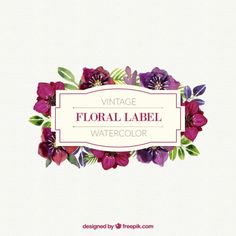 Aquarela etiqueta floral bonito no estilo do vintage Vetor grátis