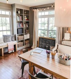 Cottage Farmhouse Study and Office Area Decor – Game Room İdeas 2020 Farmhouse Homes, Cottage Farmhouse, Farmhouse Office, Home Office Decor, Living Spaces, Living Room, Decoration, Family Room, Sweet Home