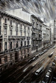 """""""Street from the Window,"""" by Valerio D'Ospina, 36 x 24, Oil on Panel -- at Principle Gallery"""