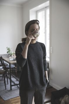 Minimalist, monochromatic, comfortable, classic, androgynous, charcoal grey, simplicity