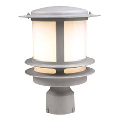 PLC Lighting 1-Light Outdoor Silver Post Light with Opal Glass-CLI-HD1896SL - The Home Depot