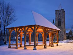 Located in historic Seneca Fall, New York, this pavilion takes its cue from the arch topped church windows of its Anglo-Gothic style neighbor, Trinity Church. Photo by Tom Watson Photography.
