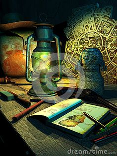 Wooden table enlighted by a lamp, with archaeologic discoverings and tools, bag, hat and gun belonging to  an archaeologist and adventurer. Vertical version.