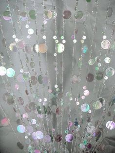Iridescent Clear Beaded Curtain -- Champagne Bubbles