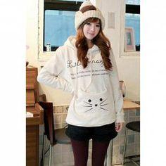 $19.23 Sweet Large Pocket Splice Cute Kitten Print Long Sleeve Fleece Hooded Coat For Women #freeshipping