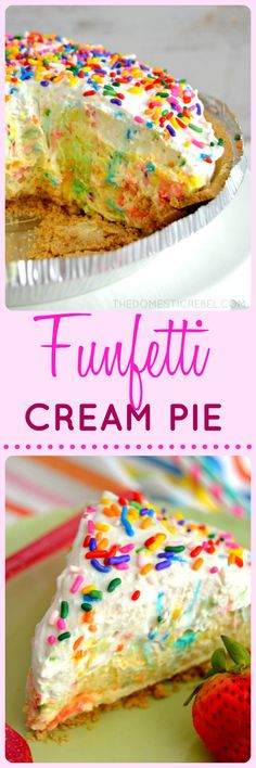 If you're a cake batter lover, you'll love this Funfetti Cream Pie! Light, thick and fluffy, it tastes just like rich and creamy cake batter!