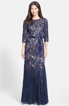 JS Collections Ribbon Belt Paneled Lace Trumpet Gown available at #Nordstrom. Also Lord & Taylor $319 Dillards $300 in size 4. $130 L&T