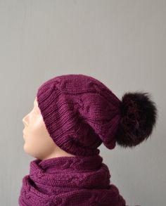 Hat and scarf set dark fuchsia wool fox fur pom pom hand knitted. $115.00, via…