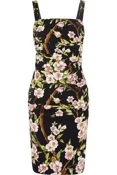 DOLCE & GABBANA Floral-Print Crepe Dress. #dolcegabbana #cloth #dress