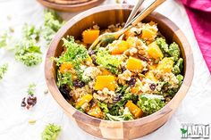 This warm, hearty butternut squash, kale and quinoa salad is the perfect picture of fall!