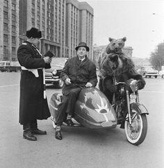 Bears riding a bike on Okhotny Ryad (1963)