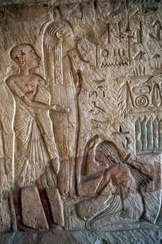 Painted relief inside Tomb of Horemheb, Necropolis of Saqqara, Memphis (UNESCO World Heritage List, 1979), Egypt, Egyptian civilization, Dynasty XVIII, Detail