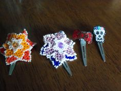 Beaded hairclips, Delica glass beads and Czech glass beads by StrungOnLove on Etsy