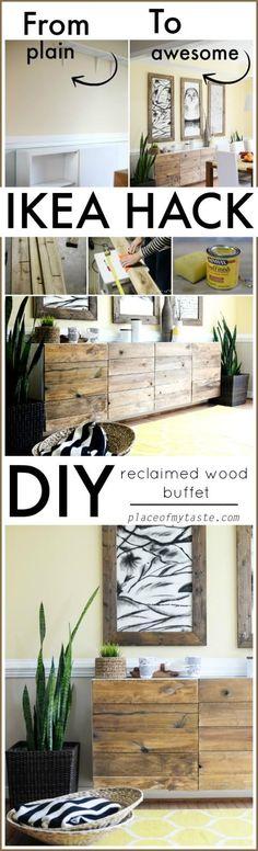 DIY rECLAIMED WOOD BUFET- IKEA HACK