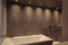 """bathroom surfaces treated with """"beton cire"""" (waterproof cement) made ambient with downlights Cement Bathroom, Concrete Shower, Open Bathroom, Bathroom Wall, Concrete Walls, Bathroom Ideas, Wet Rooms, Shower Tub, Rain Shower"""