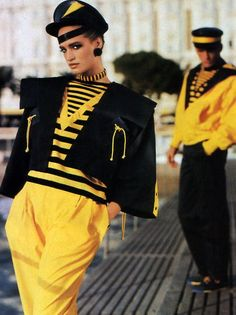 Claude Montana, Ensembles, photographed by Arthur Elgort for Vogue America, 1984 80s Fashion, Fashion History, High Fashion, Vintage Fashion, Runway Fashion, Power Dressing, French Fashion Designers, Comme Des Garcons, Costume