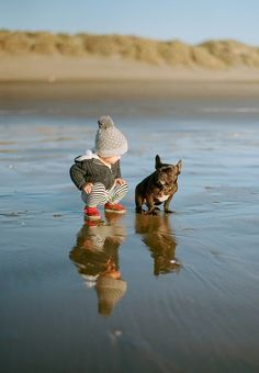Crush Cul de Sac BFFs spending the day together! Precious young child with a Frenc Bulldog in a darling knit hat on a crisp fall day Love My Dog, Puppy Love, Mans Best Friend, Best Friends, Friends Forever, Animal Pictures, Cute Pictures, Baby Pictures, Funny Photos