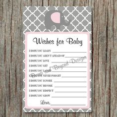 Wishes for Baby Girl Baby Shower Game by BumpAndBeyondDesigns, $5.00