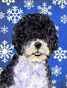 Portuguese Water Dog Winter Snowflakes Holiday House Vertical Flag