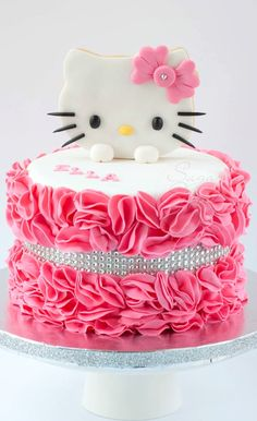 Hello Kitty Ruffled Cake
