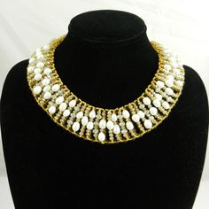 Gold White Natural Pearl Princess Necklace Quartz Bead Collar Necklace Egyptian necklace Party Necklace