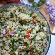 "A tasty quinoa dish that is a perfect addition to any meal and is great for packing in lunches! This Quinoa ""Pasta"" Salad is perfect for summer. Quinoa Pasta, Quinoa Salad Recipes, Pasta Salad, Vegetarian Recipes, Healthy Recipes, Clean Eating Recipes, Healthy Eating, Cooking Recipes, Soup And Salad"