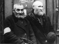 Warsaw, Poland, Two elderly Jews in the ghetto.