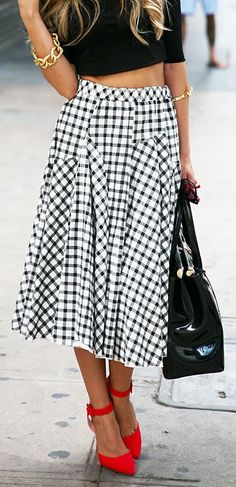 Street style high waist checkered tea length skirt with red pumps | Just a Pretty Style