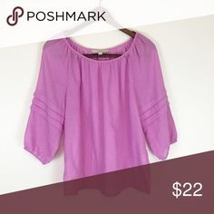 Loft Boho Purple Top The elbow accents on this piece just really make it! I imagine it would be so sweet tucked into a cream colored skirt - flowy and flowery would be a plus! 😉 LOFT Tops Blouses