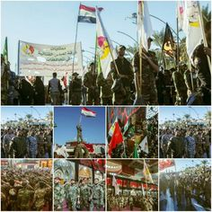 """[ After the Great Effort for Protecting and Serving Imam Hussein's visitors the Mawkib (parade) """"Farqad Al-Abbas al-Qattaliyah"""" participates in the Mourning Ceremony to Commemorate the Arbaeen of Imam Hussein ]  #21Safar1437 #LabbayakYaHussein"""