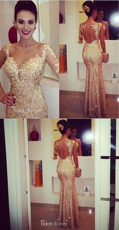 prom dresses, 2016 long prom dresses, mermaid gold long sleeves prom dresses                                                                                                                                                     Mais