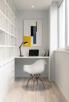 White Loft|Kashuk Constantine - home office nook, desk, eames chair Small Workspace, Workspace Design, Office Workspace, Home Office Design, Home Office Decor, Office Furniture, House Design, Home Decor, Office Ideas