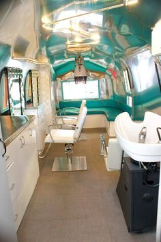 Inside Of Renovated Camper | Old Awesome Airstream Turned Into Mobile Hair Salon