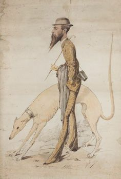 "André Gill (French, 1840-1885), ""Dandy avec son lévrier"" [Dandy with his greyhound], 1882. Watercolour, 99 x 68 cm."
