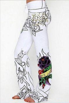 Sheinstreet New Stylish Rose Skull Pattern Hem Wide Leg Bottom Casual Pants Fashion Pants, Look Fashion, Fashion Brand, Womens Fashion, Fashion Wear, Fashion Outfits, Fashion Tips, Long Pants, Wide Leg Pants