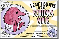 """I Can't Believe It's Not Echidna Milk"" (Ursula Vernon). Two curious facts: An echidna baby is called a puggle. A female echidna doesn't have nipples; she exudes milk from bare patches of skin. Curious Facts, Echidna, Wombat, Ursula, Vernon, It Works, Believe, Milk, Deviantart"