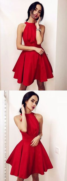 Buy Simple Red Halter Satin Homecoming Dresses, Above Knee Sleeveless Cocktail Dresses online. Rock one of the season's hottest looks in a burgundy homecoming dress or choose a timeless classic little black dress. Red Hoco Dress, Burgundy Homecoming Dresses, Hoco Dresses, Prom Party Dresses, Dresses For Teens, Cute Dresses, Formal Dresses, Red Semi Formal Dress, Freshman Homecoming Dresses