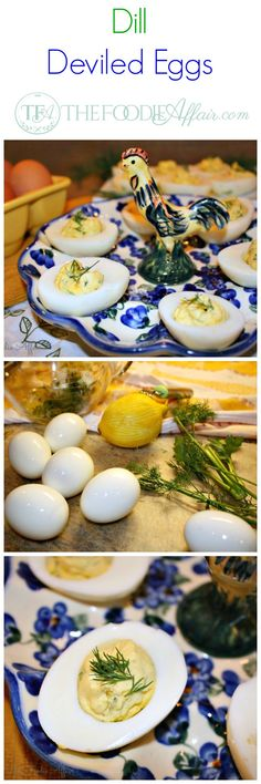 Fresh delicate dill leaves are added to these deviled eggs. The flavor of that herb goes well with the yogurt added to the filling. The Foodie Affair #healthy #eggs #deviled #Easter