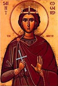 Saint Edward the Martyr was murdered at the instigation of his step-mother, Elfida on this day 18th march 978 who desired to secure the crown for her son Ethelred. He was the son of Edgar the Peaceful and succeeded his father in 975