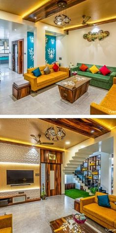 Home Discover Interior Design Ideas Small House Interior Design, Indian Home Design, Small House Interior, Indian Living Rooms, Indian Room Decor, House Interior, Indian Living Room Design, Living Room Partition Design, Ceiling Design Living Room