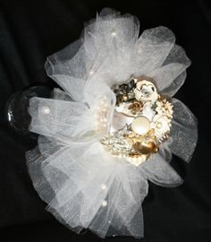 """Elegant Vintage Costume Jewelry Bouquet Ivory 10"""" Diameter Tulle Pearls Gold Silver Tone Floral Arrangement Flowers Wedding Bride Bridal by myrustygold on Etsy"""