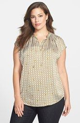 MICHAEL Michael Kors Chain Lace Split Neck Blouse (Plus Size)