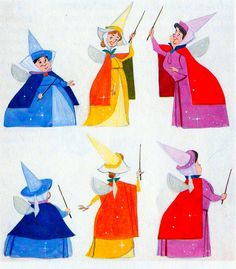 Absolutely Beautiful concept art for Sleeping Beauty's three good fairies: Flora, Fauna, and Merryweather. <3