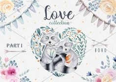 Ad: This set of high quality hand painted watercolor valentine's day elements. Boho style. Perfect graphic for DIY, wedding invitations, greeting cards, quotes, blogs, posters and more. by Peace ART on @creativemarket